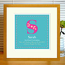turquoise print with mount & oak frame