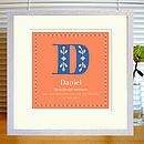 orange print with mount & white frame
