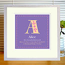 purple print in white frame