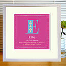 pink print with mount & white frame