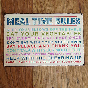 Vintage Mealtime Rules - decorative accessories