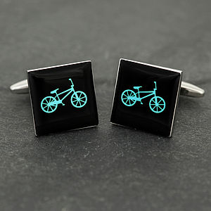 Blue Cycling Cufflinks