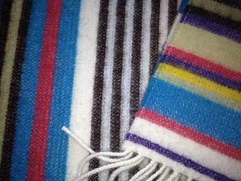 Blue And Chocolate Stripe Lambswool Scarf