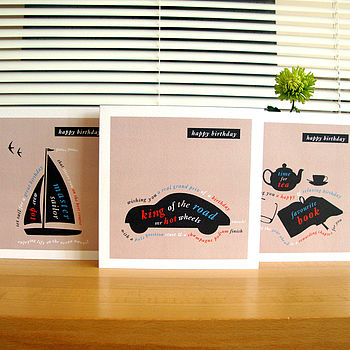 boat, car and book birthday cards
