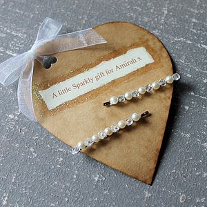 Crystal Hairslides With Personalised Gift Tag - wedding fashion