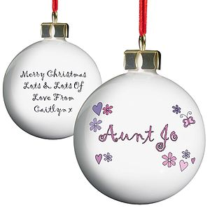 Personalised Flower Heart Butterfly Bauble - tree decorations