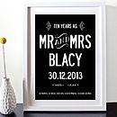 Ten Year Wedding Anniversary Personalised