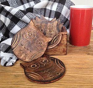Wooden Owl Design Coasters
