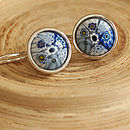 Murano Venice Blue Millefiori Silver Earrings