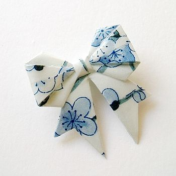 Snow Blossom Washi Paper Origami Bow Brooch