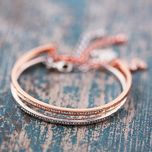 Bangle Made With Swarovski Crystals - mint, blush & gold