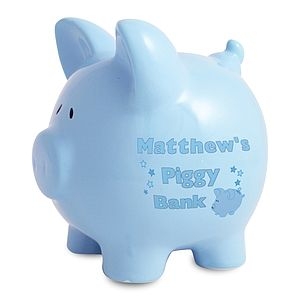 Personalised Piggy Bank In Blue Or Pink