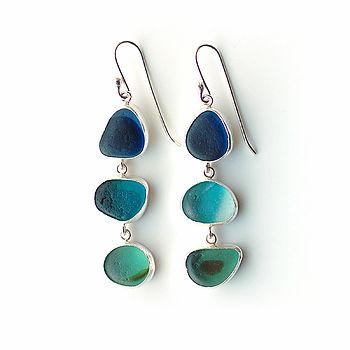 Triple Blue And Green Sea Glass Earrings