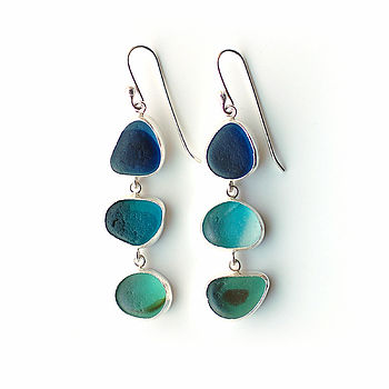Triple Blue And Green Sea Glass Earrings