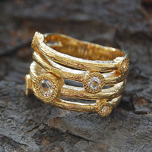 Gold And White Topaz Textured Bands Ring - rings