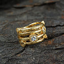 Gold And White Topaz Textured Bands Ring