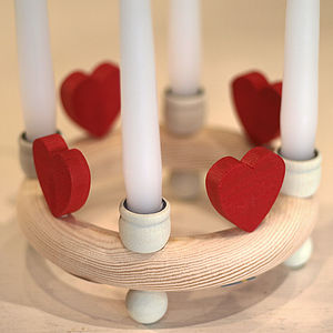 Wooden Candle Ring With Hearts - candles & candlesticks