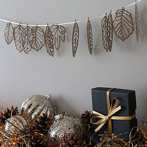 Mini Leaf Laser Cut Bunting - outdoor decorations