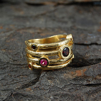 Gold And Ruby Textured Bands Ring