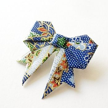 Night Garden Paper Origami Bow Brooch