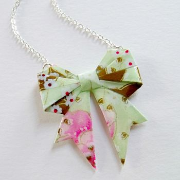 Meadow Washi Paper Origami Bow Necklace