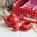 Polka Dot Porcelain Tea Set In Case