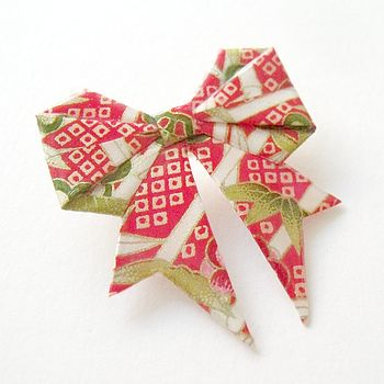 Lucky Red Paper Origami Bow Brooch