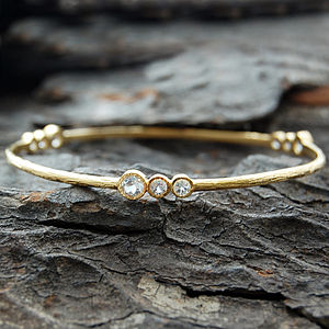 Gold And White Topaz Cellular Bangle - jewellery