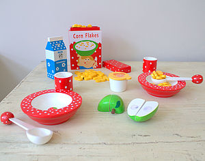 Wooden Breakfast Play Set - pretend play & dressing up