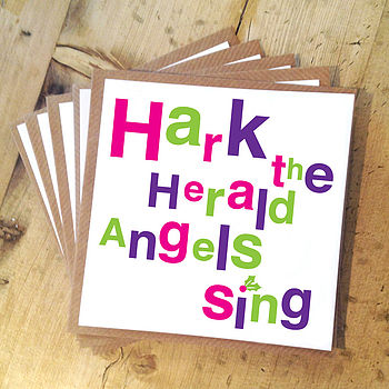 Pack Of Five 'Herald Angels' Christmas Cards