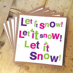 Pack Of Five 'Let It Snow' Christmas Cards - winter sale