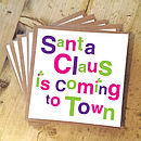 Pack Of Five 'Santa Claus' Christmas Cards