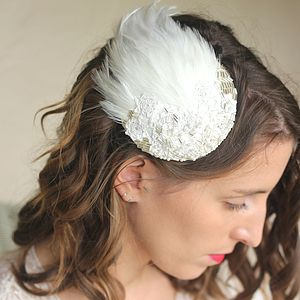 Embellished Feather Bridal Headpiece - bridal hairpieces