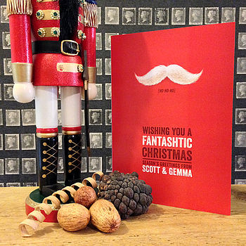 Red personalised moustache Christmas card