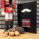 Black personalised moustache Christmas card