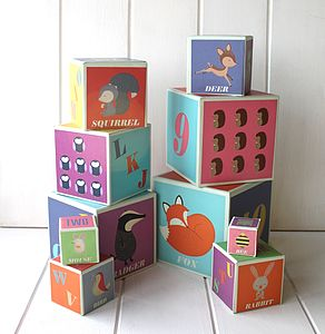 Stackable Woodland Alphabet And Number Blocks - woodland nursery