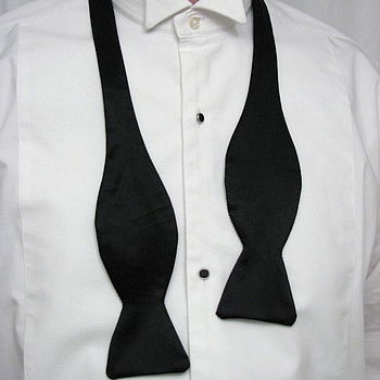 Gentelman's Black Silk Self Tie Bow Tie