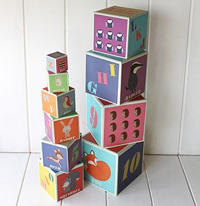 Stackable Woodland Alphabet Blocks - traditional toys & games