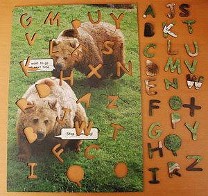 Bears Wooden Jigsaw With Alphabet Pieces