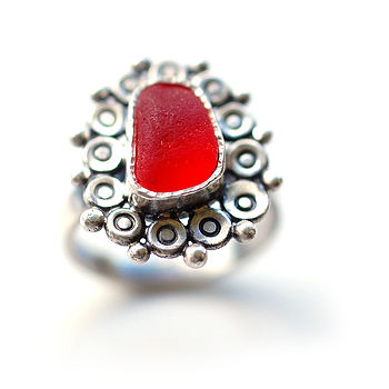 Red Sea Glass Flower Ring