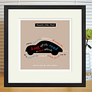 Personalised Car Lover's Print With Mount