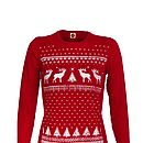 Red womens reindeer long sleeve top