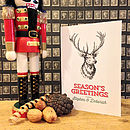 White personalised stag Christmas card