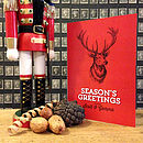 Red personalised stag Christmas card