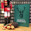 Green personalised stag Christmas card