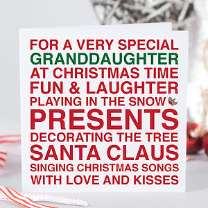 'Very Special Granddaughter' Christmas Card
