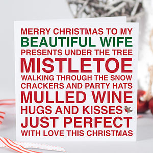'Beautiful Wife' Christmas Card