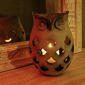 Owl Hurricane Lantern - christmas lights