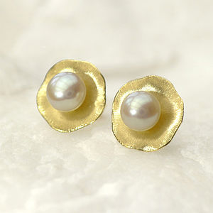 Flower Petal Pearl Earrings In 18ct Gold