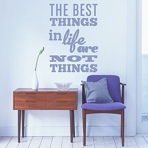 'The Best Things In Life…' Wall Sticker - wall stickers by room